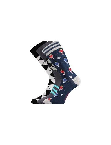 Ponožky Lonka WOODOO mix S - balení 3 páry v barevném mixu