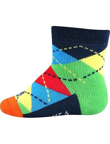 WOODINEK kojenecké ponožky Lonka, Mix A kluk, tmavě morá, barevné káro