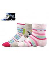 Ponožky Boma kojenecké 56 013 ABS - balení 3 páry v barevném mixu