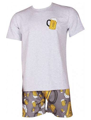 Pánské pyžamo Lonka KOFFING krátké, vzor pivo