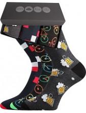 Pánské ponožky Lonka WEBOX 007- balení 3 různé páry v krabičce
