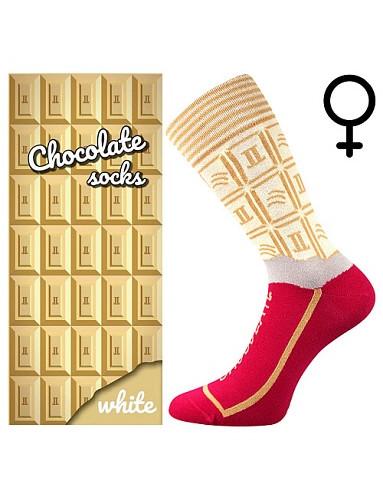 Ponožky Lonka CHOCOLATE, white, dámské