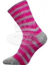 Ponožky Boma Drhana Mix A sv. šedá s pruhy fuxia