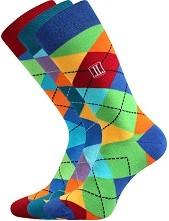 DIKARUS káro mix A společenské ponožky Lonka - balení 3 páry v barevném mixu