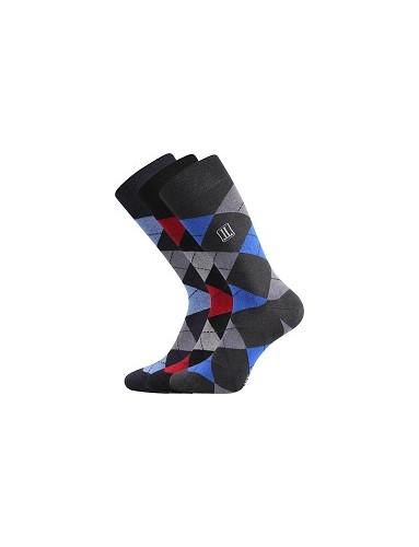 DIKARUS káro mix B společenské ponožky Lonka - balení 3 páry v barevném mixu